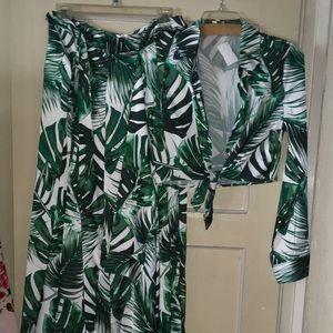 Leaf print pant set